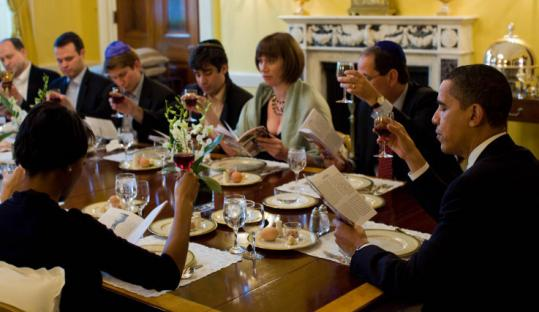 President Obama and guests gathered last year for a Seder, a White House first. They will continue the ritual tomorrow.