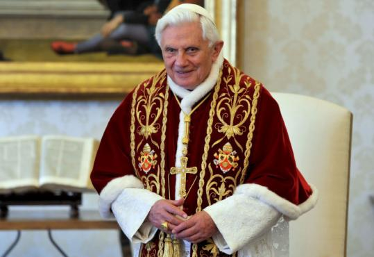 The Vatican insists that the authority of Pope Benedict XVI, shown in his Vatican library, hasn&#8217;t been weakened.