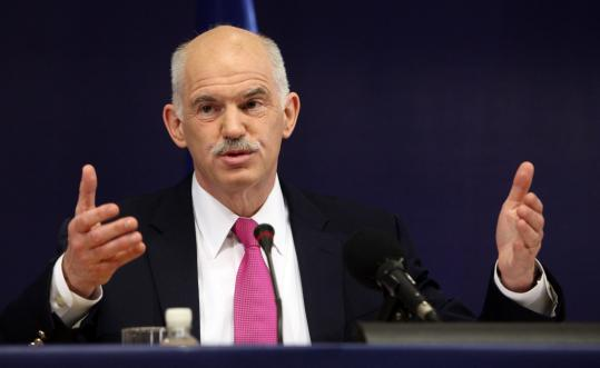 Prime Minister George Papandreou at last week's EU summit, where Greece was promised help if it can't borrow or pay its debts.