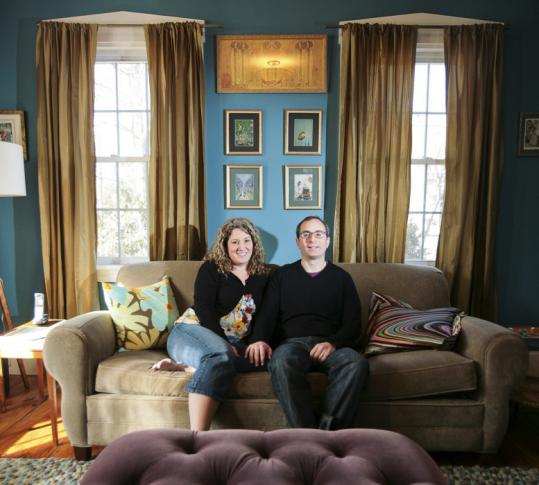 Heather Hauser and Chris Cooper. Their family room brims with playfulness, as does the rest of the house.