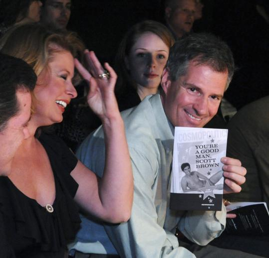 Senator Scott Brown and his wife, Gail Huff (left), at the Improv Asylum last night.
