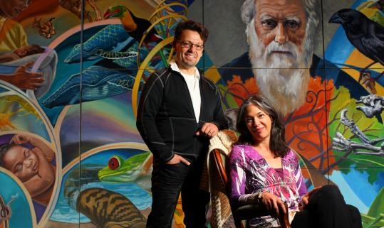 "Playwright Melinda Lopez sits in front of a mural used in her ""From Orchids to Octopi.'' Diego Arciniegas directs the production at Central Square Theater."