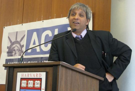 Adam Habib, a South African scholar and opponent of the Iraq war who was denied entry to the United States under a provision of the Patriot Act, spoke at Harvard Law School on Wednesday.