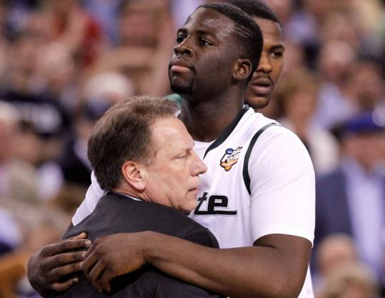 Jonathan daniel/Getty Images Coach Tom Izzo and Draymond Green had their dream of consecutive title game appearances squashed by Butler.