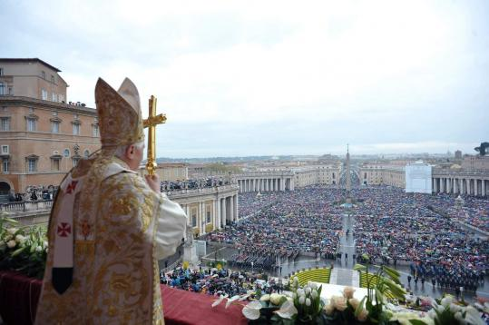 "Pope Benedict XVI avoided the clergy sexual abuse controversy when he spoke yesterday in St. Peter's Square at the end of Easter Mass. A cardinal said the bishops and 400,000 priests around the world stood by Benedict against the ""gossip of the moment.'' (L'Osservatore Romano/ AP)"