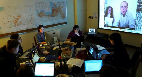 Patrick Meier (on screen) and Tufts volunteers ran a crisis-mapping website to help Haiti.