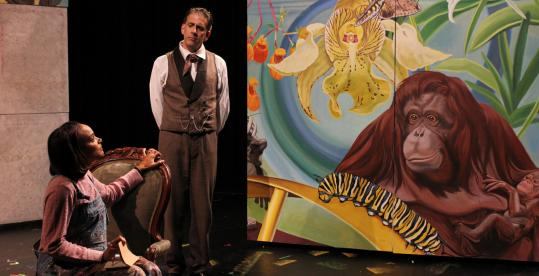 """Kortney Adams and Wesley Savick perform in front of some wonderfully creative set pieces in """"From Orchids to Octopi'' at Central Square Theater."""