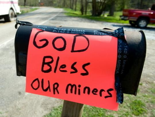 A sign is posted on a mailbox near the entrance to the Upper Big Branch coal mine. The accident was the worst in the United States in decades.