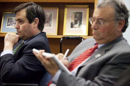 Former Sox GM Dan Duquette (left) and Pittsfield Mayor James M. Ruberto at yesterday's State Ethics Commission hearing.