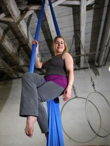 Jill Maio on the silks. She recently opened Aircraft, an instructional studio where she teaches the art of aerials.