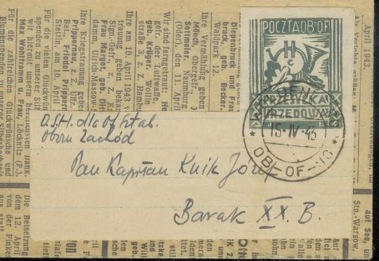 An envelope with a camp-made stamp and cancellation mark from the barracks postal system created by Polish officers imprisoned by Nazis.