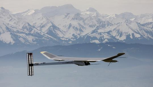 A solar prototype airplane, following six years of work by 50 engineers and technicians and led by Swiss adventurer Bertrand Piccard, took its first flight in front of the Swiss Alps yesterday.