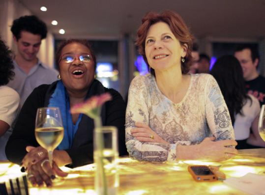 "Jody Adams (right) watches the premiere of ""Top Chef Masters'' with friend Marcyliena Morgan during a viewing party at Rialto."