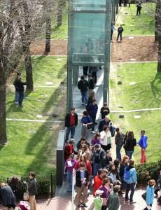 People strolled through the New England Holocaust Memorial after services at Faneuil Hall.