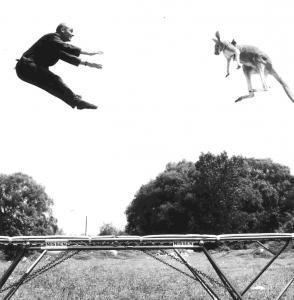 In the 1950s, Mr. Nissen jumped on a trampoline with a kangaroo in New York's Central Park.