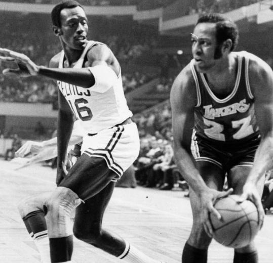 Always a team player, Satch Sanders was there to guard the opponent's best scorer, in this case Elgin Baylor of the Lakers.