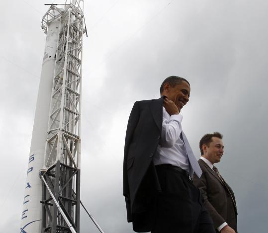 President Obama and Elon Musk, founder of SpaceX, toured Cape Canaveral Air Force Station in Florida yesterday. Obama's plans for future space exploration include federal spending to bring on board more private companies like SpaceX.