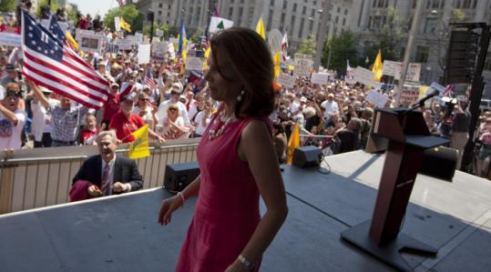 Republican Representative Michele Bachmann of Minnesota addressed a tea party movement rally in Washington.