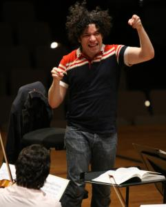Gustavo Dudamel with the Simon Bolivar Youth Orchestra.