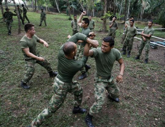 Soldiers did military exercises in Macarena, Colombia, to prepare for possible deployment later this year to Afghanistan, where they would be part of a mission to train Afghan troops.