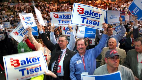 Delegates from Middlesex and Essex counties cheered Charles Baker as he took the stage at the DCU Center in Worcester. Mark Heyda of Lynnfield (center, blue shirt) helped lead the cheer.