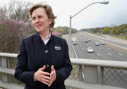 Luisa Paiewonsky on a Route 60 overpass in Arlington.