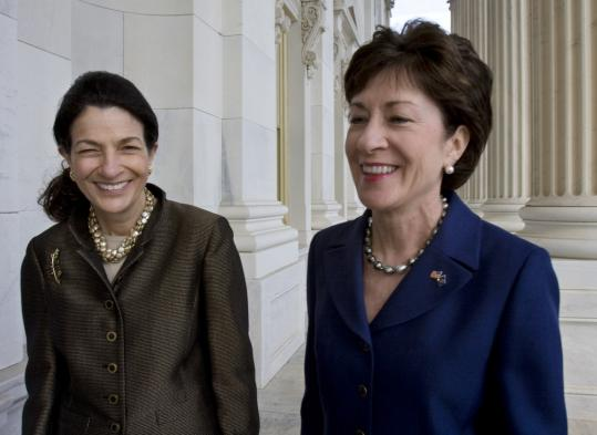 Maine's Republican senators, Olympia Snowe (left) and Susan Collins, are considered key swing votes on a Democrat-backed overhaul of financial regulations.