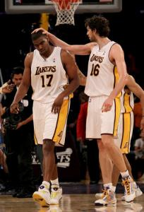 The Lakers&#8217; Pau Gasol (right) gives kudos to Andrew Bynum for his dunk.