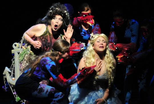 "Margaret Ann Brady as the Sea Witch (left) and Andrea Ross as Pearl in the Wheelock Family Theatre's production of ""The Little Mermaid.''"