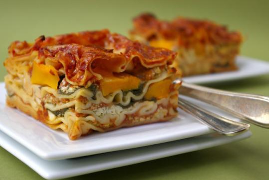 Recipe for butternut-spinach lasagna - The Boston Globe
