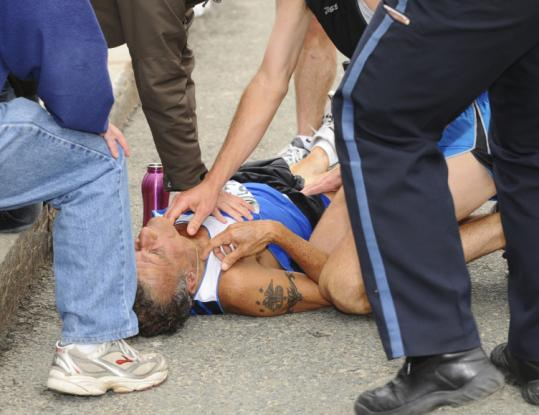Carleton Smith's heart stopped, and he was revived by onlookers and EMS workers. He was 25 miles into the race.
