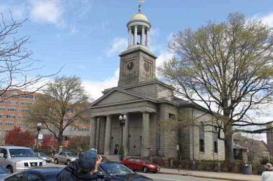 United First Parish Church, a landmark in Quincy's center, sits atop the burial crypts of John Adams and John Quincy Adams.