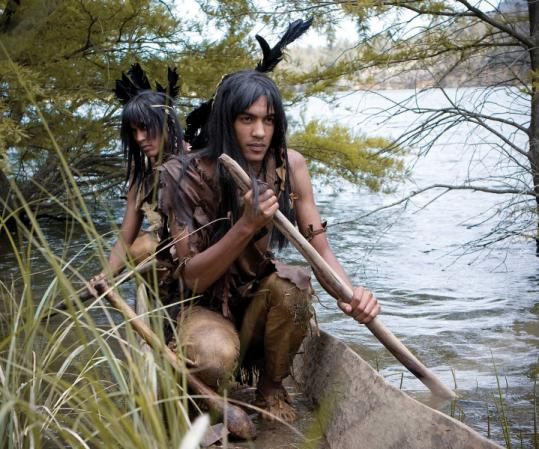 "A scene from ""America: The Story of Us'' depicts Powhatan Indians near the Jamestown settlement."