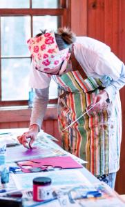 Christine Mason-Miller in Susan Schwake's printmaking class.