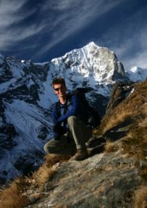 Judson Peck trekking in the mountains near the Nepali village of Thamo.