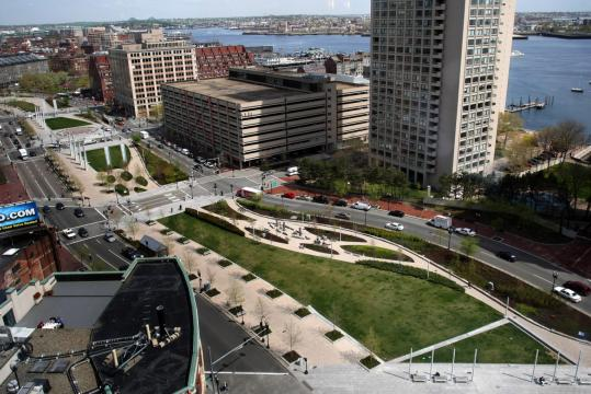 Large swaths of the Rose Kennedy Greenway (seen here from International Place) remain unpopulated.