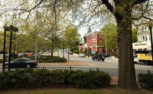Oak Square as seen today from the small common in the rotary on Washington Street.