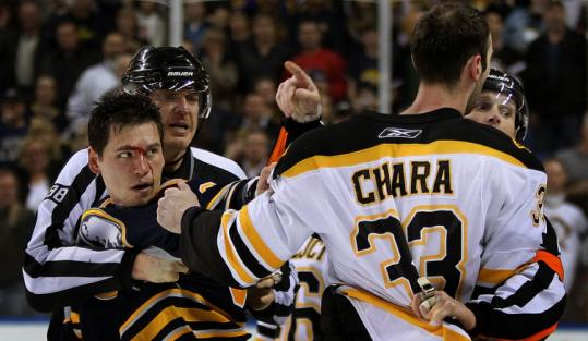 Blood was boiling — and spilling — at the end of Game 5, as Zdeno Chara and Buffalo's Cody McCormick were separated.