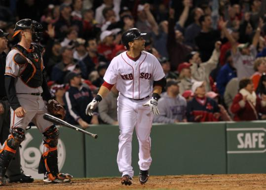 After trailing all game, Marco Scutaro watches his three-run homer that put the Red Sox ahead, 4-3, in the seventh.