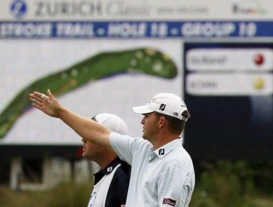 Once skies cleared in Louisiana, Jason Bohn shot a 5-under 67 for the second-round lead at the rain-delayed Zurich Classic.