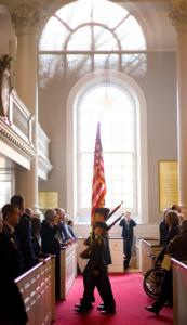 Harvard ROTC members, who must train at MIT, retired the colors at last year's Veterans Day service at the Harvard Memorial Church.