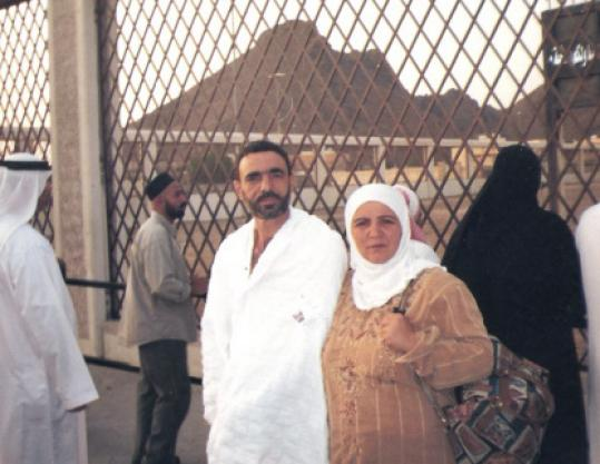 Ali Hussain Sibat with his wife at an unknown site in Saudi Arabia.