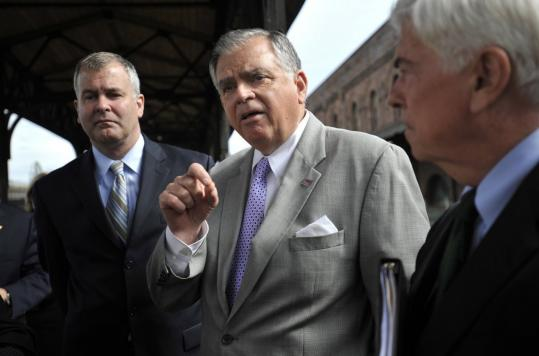 Transportation Secretary Ray LaHood (center, with Senator Christopher Dodd at right and Connecticut Transportation Commissioner Joseph Marie) said New England is ripe for rail.