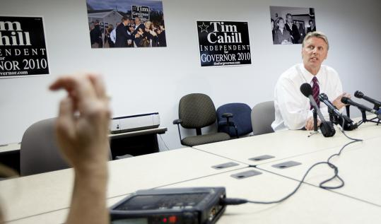 State Treasurer Timothy P. Cahill decried the ads targeting his independent run for governor yesterday at his office in Quincy.