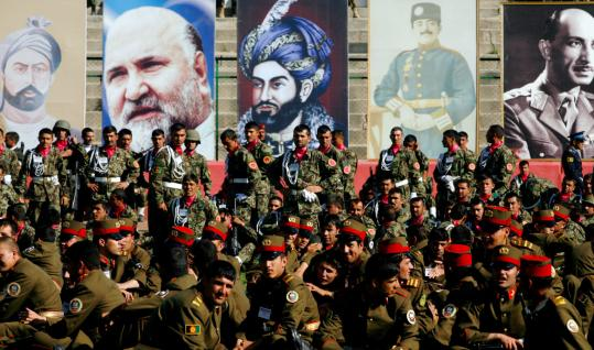 Members of the Afghan National Army in Kabul helped commemorate the anniversary of the fall of a Soviet-installed regime.
