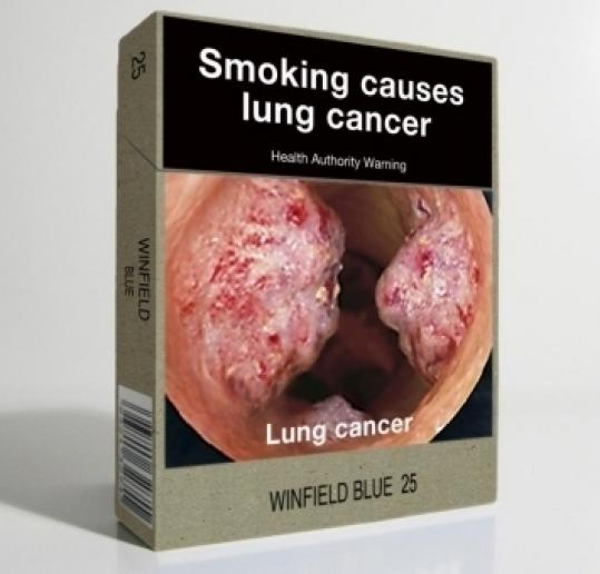 Australia released a mock-up of a cigarette package with a graphic warning.