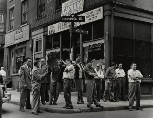 """""""Gus P. Napoli Square, Sunday Morning, North End,'' by Jules Aarons, whose photographs are on view at the Boston Public Library."""