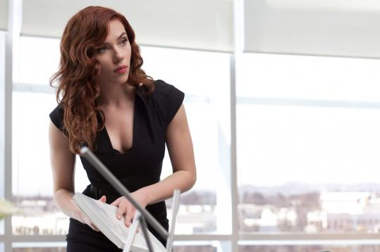"A brunette Scarlett Johansson is Black Widow in ""Iron Man 2.'"