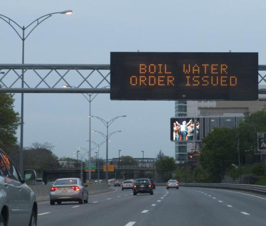 Motorists heading east on the Mass. Pike in Allston were made aware of the order to boil water yesterday.