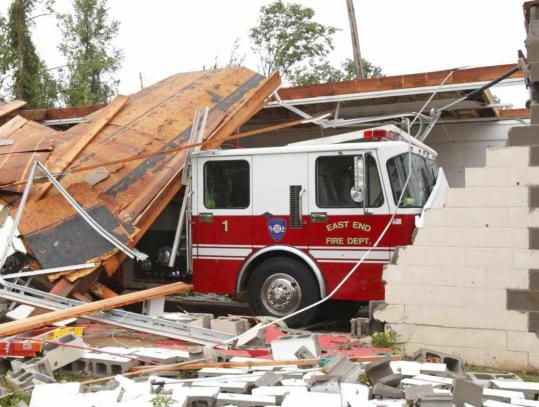 BRIAN E. CHILSON/ASSOCIATED PRESS A fire station in East End, Ark., was damaged by a tornado that swept through Friday evening.